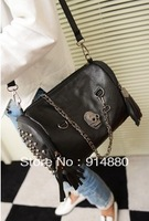 Free Shipping New Fashion Skeleton Bags Punk Style Rivet Messenger Bags