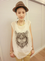 2014 hot selling  high quality tiger head white loose vest +free shipping