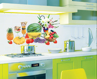 Free shipping Fruit wall stickers home decor, Watermelon banana Pineapple home stickers for Kitchen Cabinet Stove 30*60cm