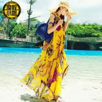New 2014 summer modish Bohemia summer women one-piece dress anke-length dress O-neck chiffon beach ruffles dress plus size dress