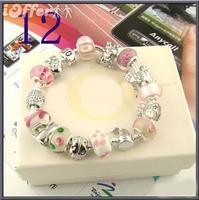 Charm Chamilia bracelet 925 sterling silver crystal charm bracelet for woman.silver chamilia beads bracelets