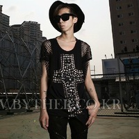 Male 2013 summer t-shirt cutout T-shirt male short-sleeve t-shirt t103