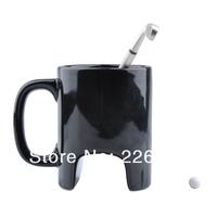 Free Shipping 4Pieces 300ml The Black Ceramic Golf Mug / Executive Sports Golf Mug