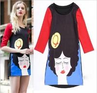 2014 New  Summer Dress Women's Angelababy Vintage Printslim Cotton Short Design One-piece Mini Sundress