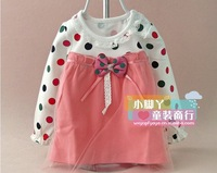 The new 2014 dots bow skirt female baby cotton net veil top render unlined upper garment of the girls