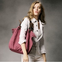 Canvas bag casual bag nappy bag first layer of cowhide genuine leather accessories women's handbag one shoulder cross-body