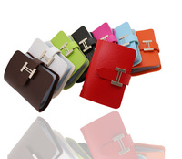 New 2014  lady Fashion PU leather name card holder H button cards wallet men business cards case