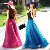 8 m women new fashion spring summer 2014 European big swing skirts mopping new chiffon high waist maxi long skirt fashion skirt