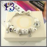 ree Shipping 925 Silver bracelet fashion jewelry. chamilia beads bead bracelet