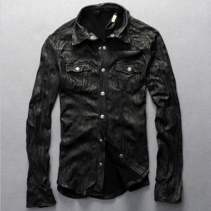 Free shipping Slim Short Italian shirt genuine leather motorcycle jacket men's rock casual shirts sheep skin(China (Mainland))