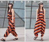 women's 2014 spring new arrival  loose cool plus size stripe vest sleeveless jumpsuit pants one-piece dress harem pants
