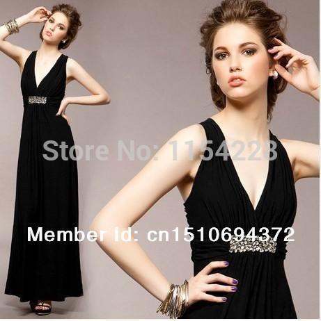 New 2014 spring korean shoulder sexy beauty back Long dress Dinner Dresses black Long dress Inner Dress was thin(China (Mainland))