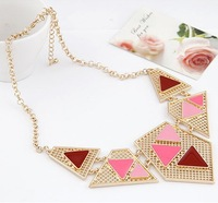Chunky Statement Necklaces & Pendants New Design Mental Triangle Enamel Colored Costume Accessories for Women Jewelry Bijouterie