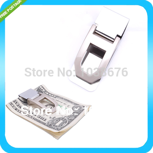 Practical Slim Money Cash Clamp Wallet Clip Credit Card Stainless Steel Holder FREESHIPPING(China (Mainland))