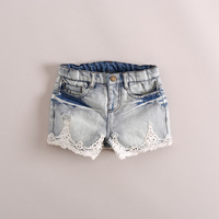 2014 New summer  Hot sale!! girls Boutique Fashion denim shorts with  lace 6pcs/lot free shipping