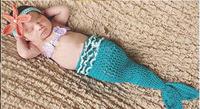 Newborn Baby Costume Photography Prop Knit Crochet Beanie Animal Hat Set mermaid