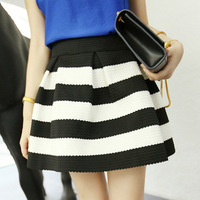 Free Shipping New Arrival Fashion Brand Black And White Stripe High Waisted Elastic Ball Gown Plus Short Skirt For Women