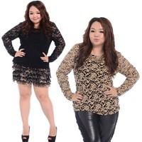 Fat women plus Size Lace Elegant T Shirt Tops Ladies Long Sleeve Teeslarge big size Clothing 2014 fashion