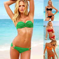 2014 Summer Women's clothing Fashion Sexy Split Metal buckle Swimsuit Swimwear Bra Bikini set Brand Bow Cross-belt Wholesale