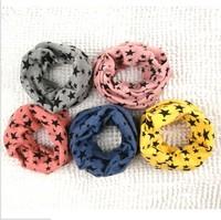 Classic children's cotton scarf kids boy girl Ring Scarf Shawl Unisex Winter knitting stars Collar Neck Warmer