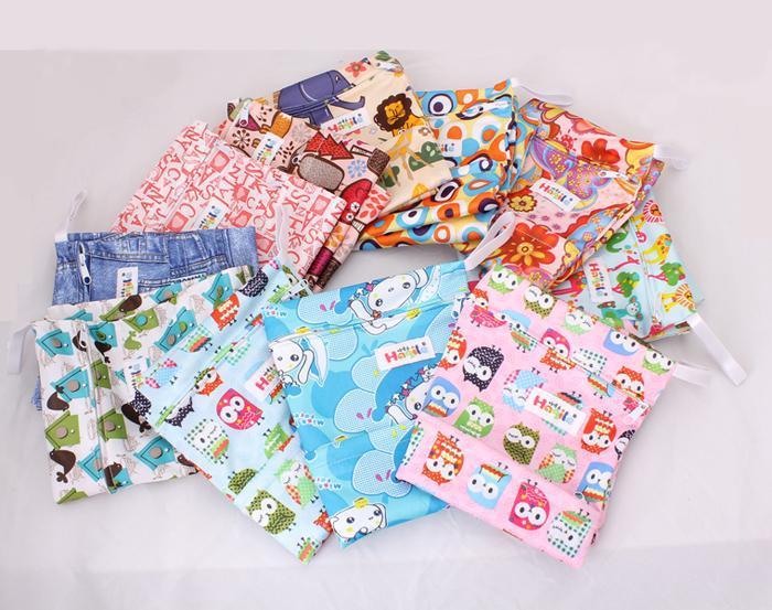 Baby diapers double zipper bags diaper bag baby bed bag large storage bag waterproof multi-color(China (Mainland))