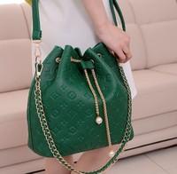 2013 bags ladies chain drawstring bucket bag messenger bag shoulder bag handbag embossed women's