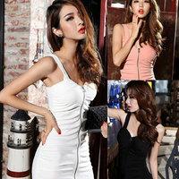 2014 Spring Nightclub Sexy Package Hip dress Zipper Style Nightclub Sexy Slim Dress Straps