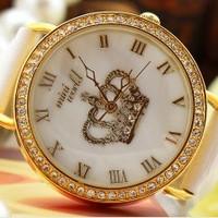Free Shipping Women Dress Watches Diadem Rhinestone Polymer Clay Quartz Leather Strap Casual Relogio Feminino Wristwatches