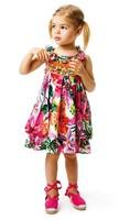 Summer Newest France brand girls beautiful flower sleeveless one-piece dress girl's dresses hotsale designer kids dress for girl