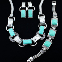 Vintage Look Tibetan Alloy Antique Silver Plated Oblong Necklace Earrings  Bracelet  Turquoise Jewelry Sets S018