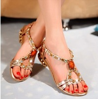 2014 New sheep genuine leather shoes women sandals with crystal for summer free shipping women flats 715