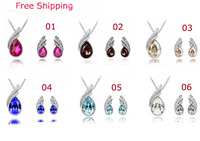 Austrian Crystal Bridal Accessories  Water Drop Jewelry Sets Necklace/Earrings Free Shipping TZ-2