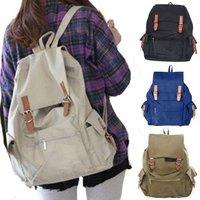 New Korean Girls Casual Multi Pockets Student Canvas Double Shoulder Bags Fashion Travel Backpack Barrel bag RucksackB415#S5