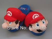 One Pair Super Mario Luigi Mario Red Children Cosplay Shoes Plush Toy Slippers Retail