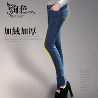 Mink velvet thickening pencil pants slim plus velvet jeans female elastic skinny pants tight-fitting