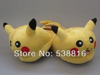Pikachu slippers Children Pokemon Slippers Pikachu Figure Cartoon plush slipper GOOD QUALITY Retail