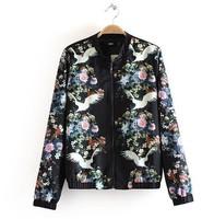 Free shipping!2014 women's spring fashion designer print pattern stand collar long-sleeve jacket outerwear blCK