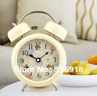 Free Shipping Fashion bell rustic lounged small alarm clock mute luminous child clock alarum personality cartoon