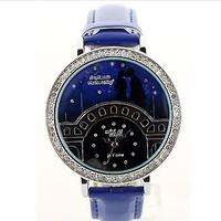 Free Shipping Women Dress Watches Blue Star Rhinestone Polymer Clay Quartz Leather Strap Casual Relogio Feminino Wristwatches