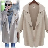 cardigans special offer direct selling full 2014 long plus size loose cardigan cape women's solid color sweater turn-down collar