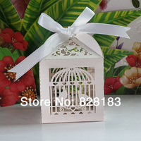 2014 Free Shipping 50PCS/lots Laser Cut Birdcage Wedding Favor Box in Pearlescent white paper box,party show favor box