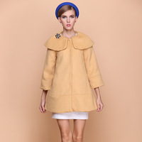 2013 women's patchwork woolen overcoat medium-long cloak woolen outerwear