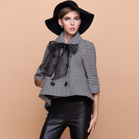 Winter women's 2013 cloak woolen outerwear houndstooth overcoat female