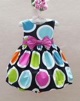 SQ030 Free shipping new arrival baby girl cotton dresses children fashion polka sleeveless party dress kids bowknot dress retail