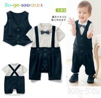 2014 new arrival gentlman bow suspender 2 pcs vest gillet  boy rom per summer short sleeve deco baby rompers body suits designer