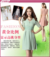 2013 spring women's slim lace skirt slim waist sexy half sleeve one-piece dress mm one-piece dress