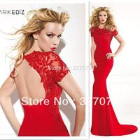 Tarik Ediz 2014 Mermaid Free Shipping Sexy Open Back Red Short Sleeve Lace Prom Dresses Court Train Girl Party Dresses