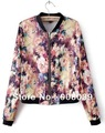 Spring 2015  New  Fashion  Long Sleeve Zipper Floral Printed Bomber Jacket  For Women