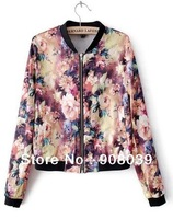 Hot sale!!ship within 24 hour  spring 2014 new  fashion   printing  jackets  for women free shipping
