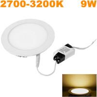 Free shipping! 100pcs/lot Warm White LED Panel light SMD2835 9W AC85-265V downlights 2700-3200K Round Ceiling lighting